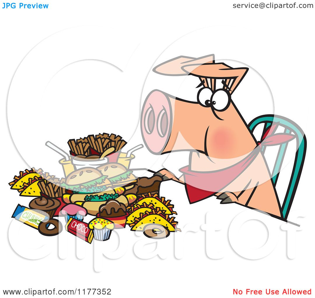 Cartoon of a Pigging out Hog with Junk Food - Royalty Free ...