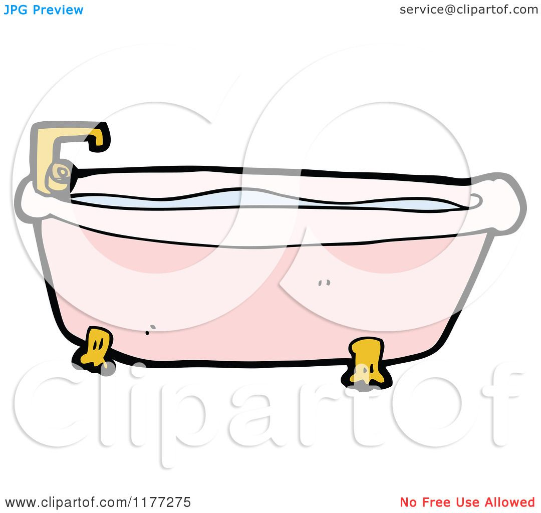 Cartoon Of A Pink Bath Tub With Water