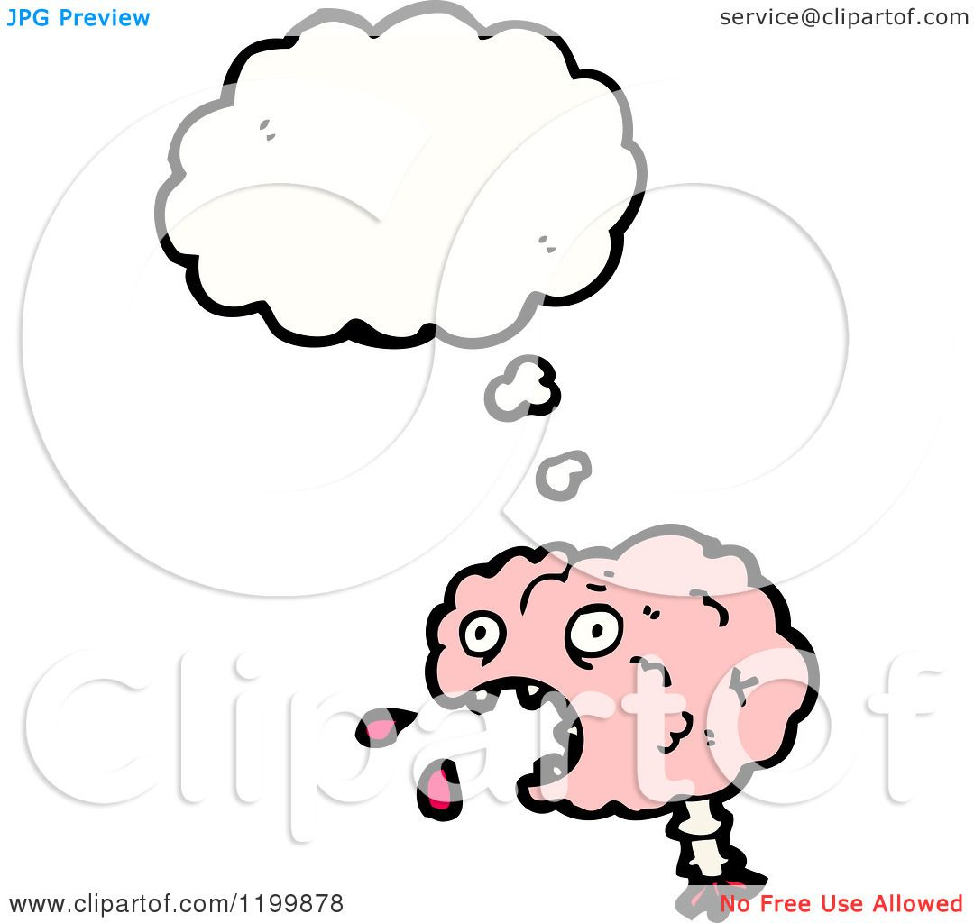 Cartoon of a Pink Brain Thinking - Royalty Free Vector ...