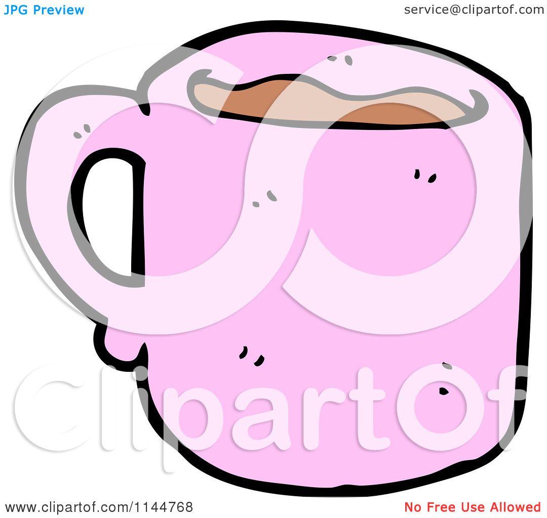 Cartoon Of A Pink Coffee Mug 1