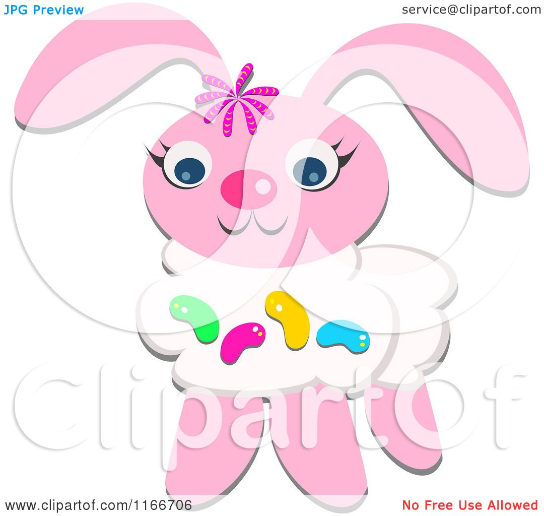 cartoon of a pink easter bunny with jelly beans royalty free