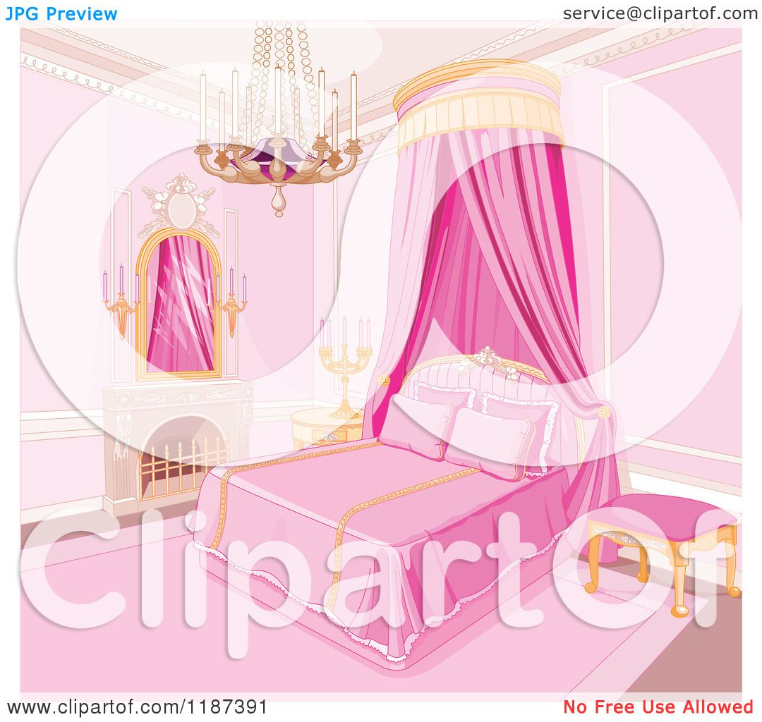 Cartoon Of A Pink Princess Bedroom With A Fireplace Chandelier And Bed  Curtain   Royalty Free Vector Clipart By Pushkin