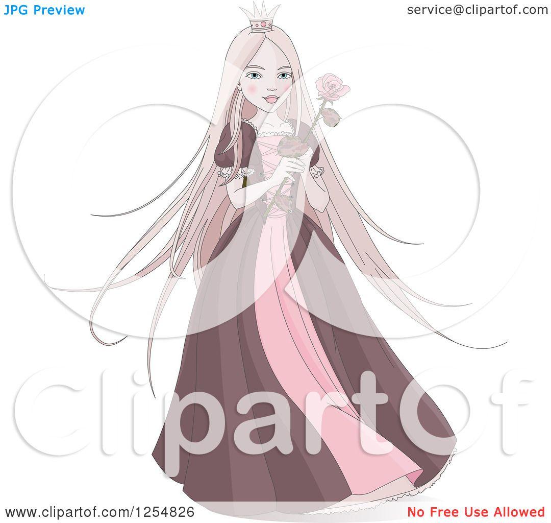 cartoon of a pink princess holding a rose royalty free vector