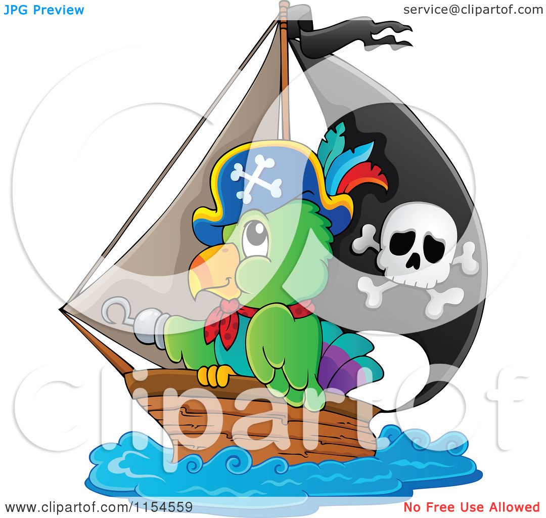 Cartoon of a Pirate Parrot in a Ship - Royalty Free Vector ...