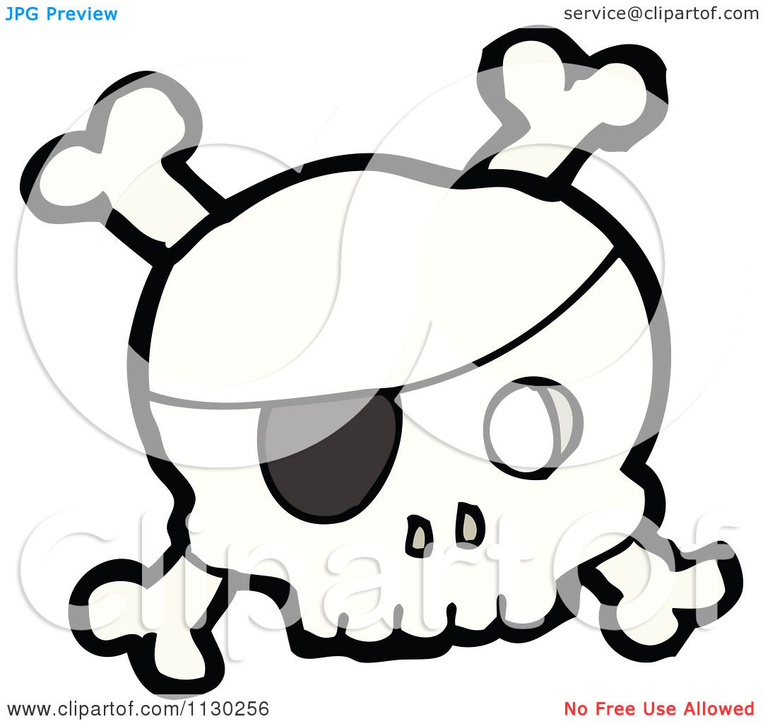 Cartoon Of A Pirate Skull With Crossbones 2 - Royalty Free Vector ...