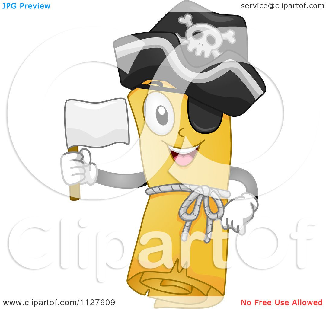 Cartoon Of A Pirate Treasure Map Mascot Holding A White Flag Royalty Free  Vector Clipart By