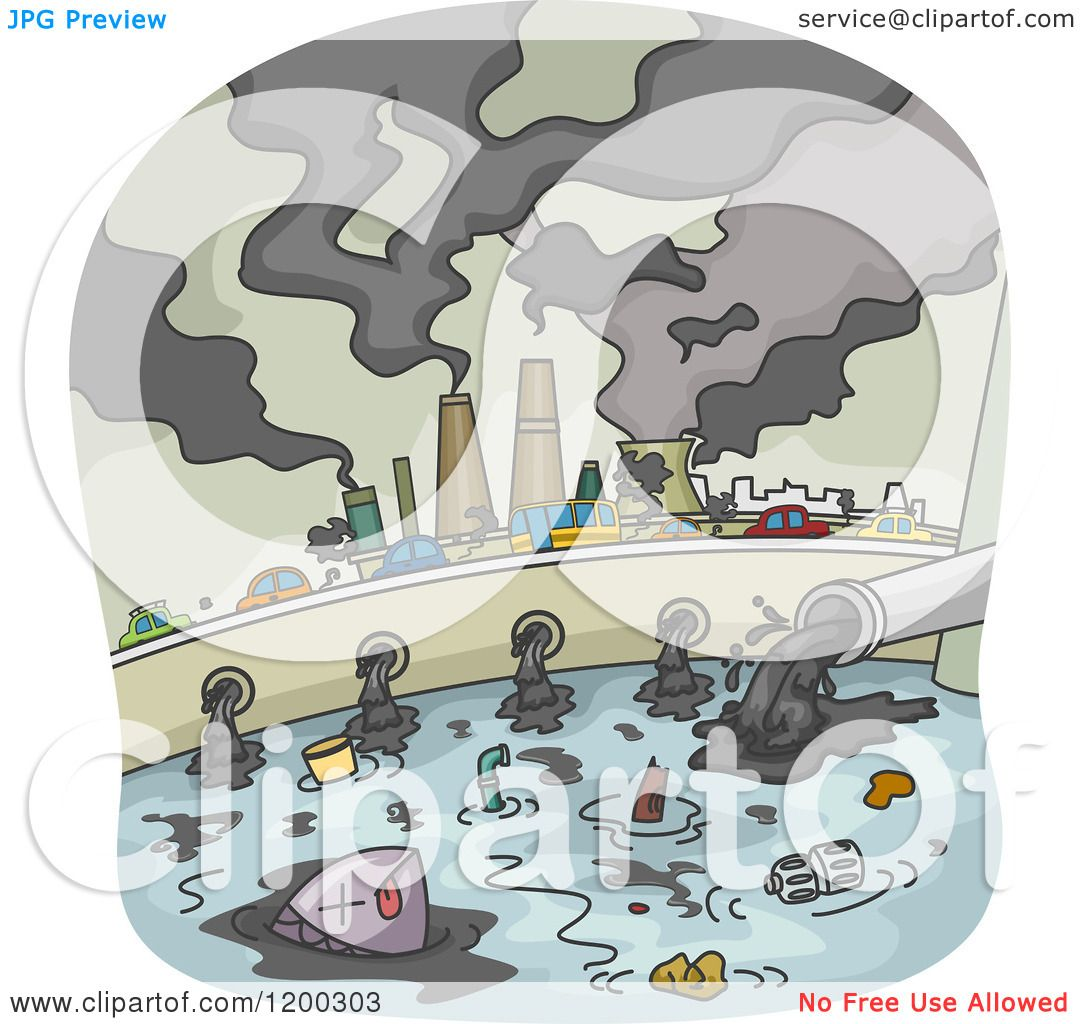 Cartoon Of A Polluted City With Smoke Stacks And Waste