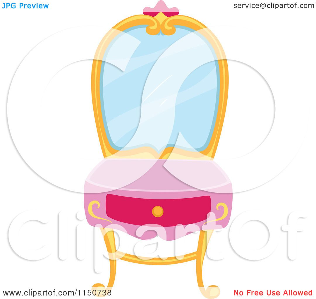 Cartoon Of A Princess Vanity Table   Royalty Free Vector Clipart By BNP  Design Studio