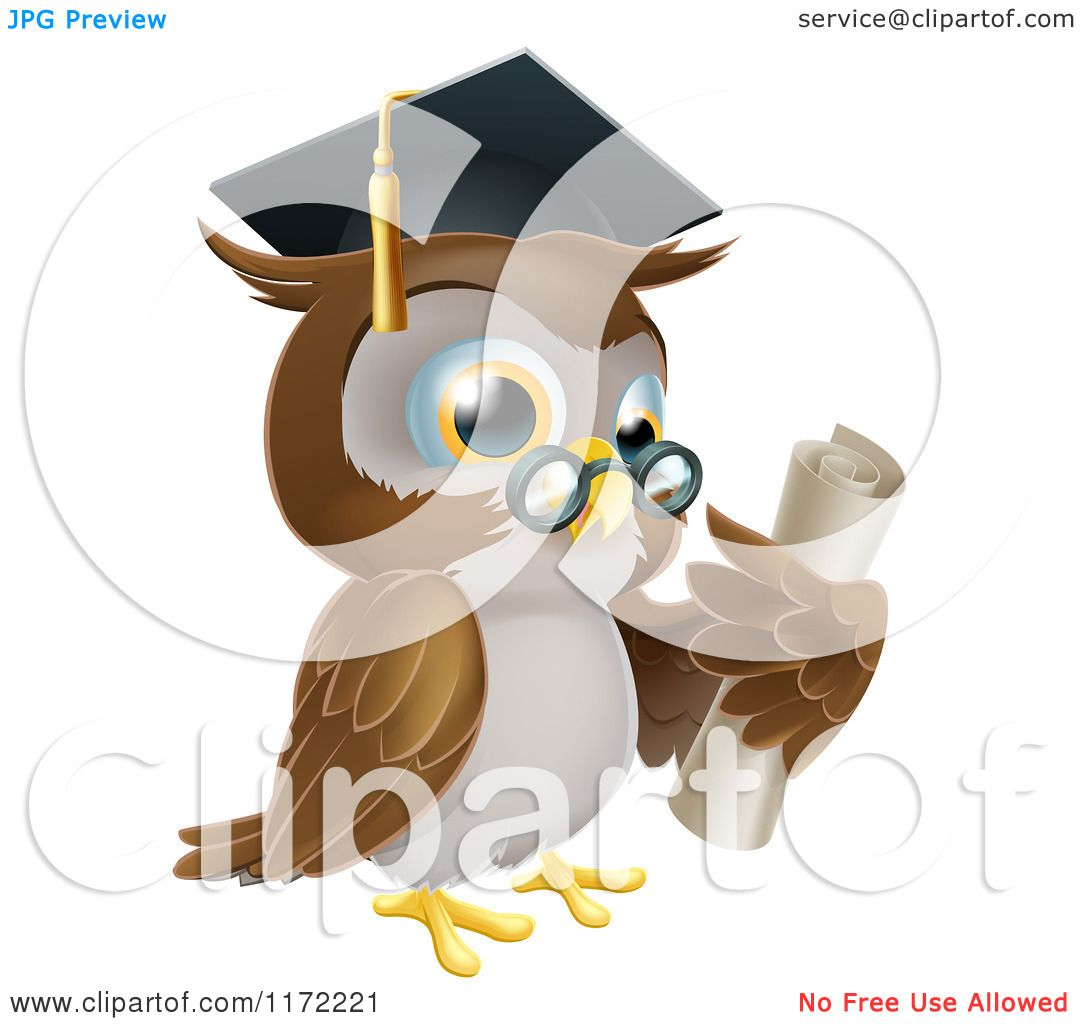 cartoon of an owl wearing glasses and presenting a sign royalty