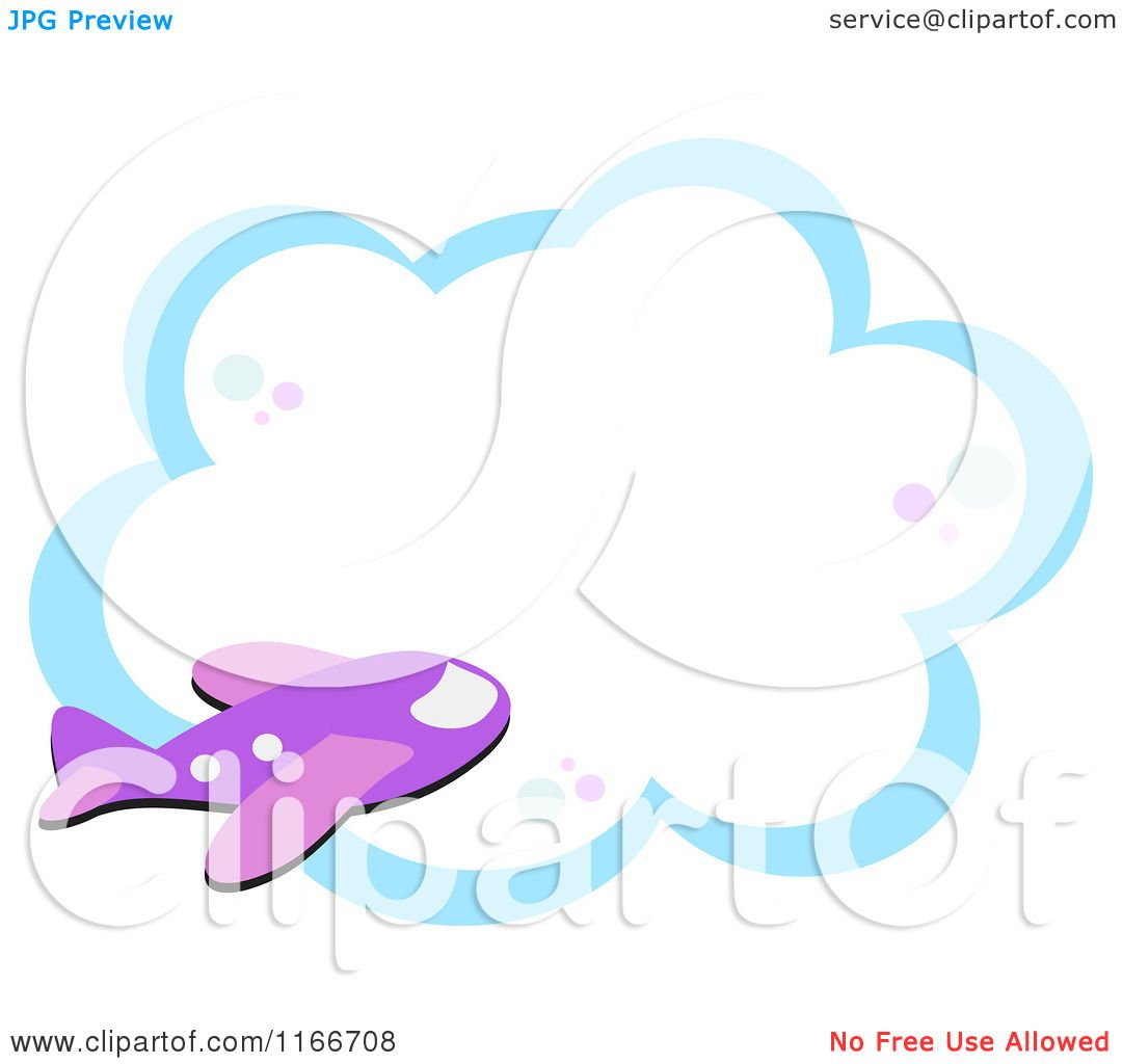 cartoon of a purple airplane and cloud frame royalty free vector