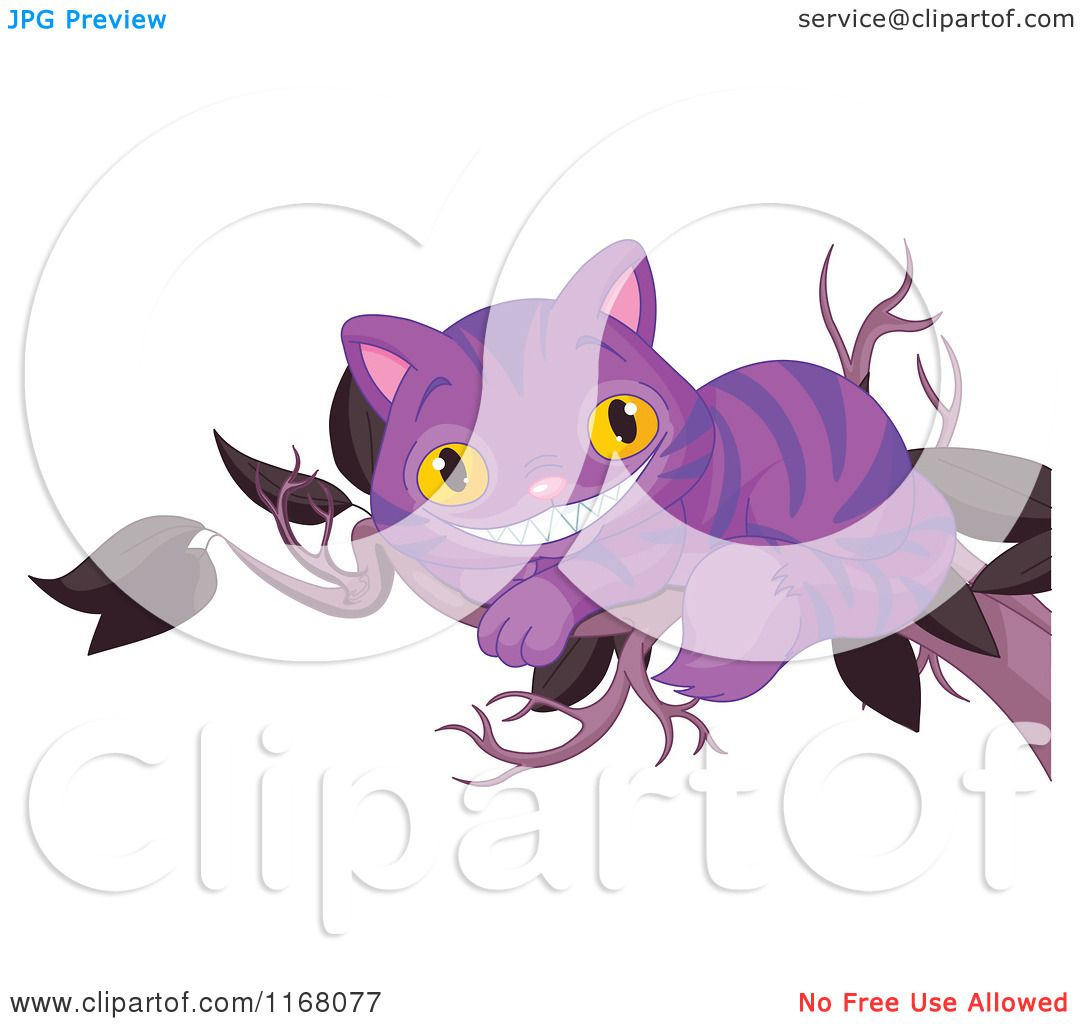 cartoon tree with cheshire cat smile purple grinning cheshire cat on a tree branch - Cheshire Cat Smile Coloring Pages