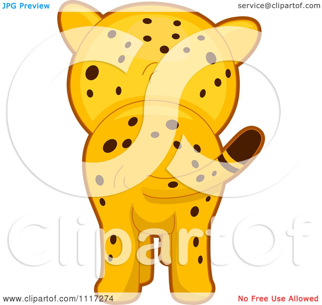 Cartoon Of A Rear View Of A Cute Cheetah Royalty Free