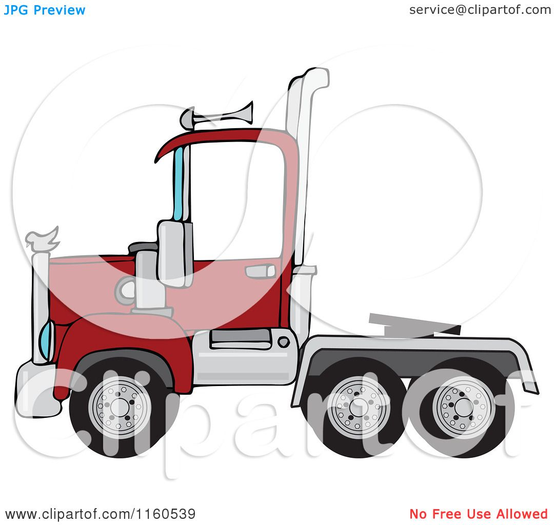 Cartoon of a Red Big Rig Semi Truck Cab - Royalty Free Vector ...