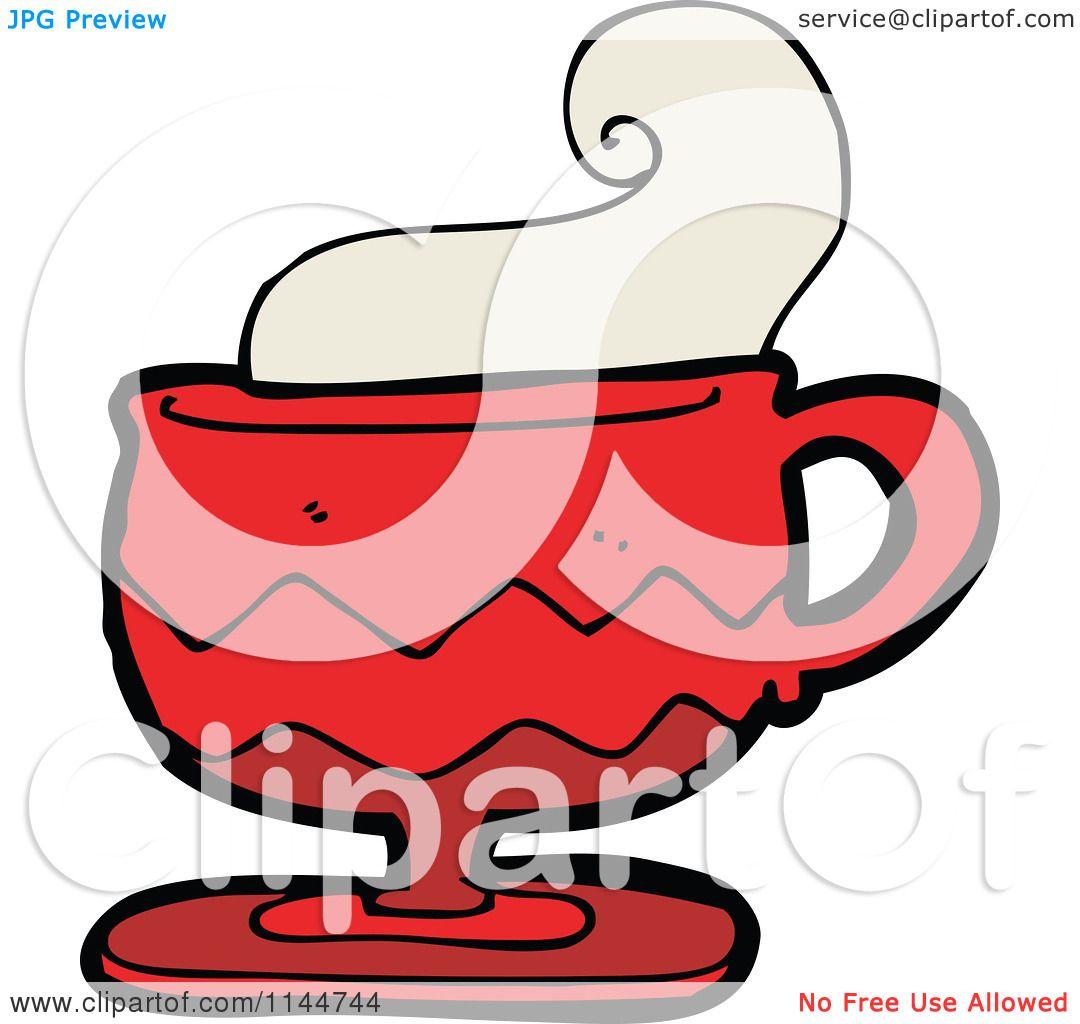Cartoon Of A Red Coffee Mug With Steam