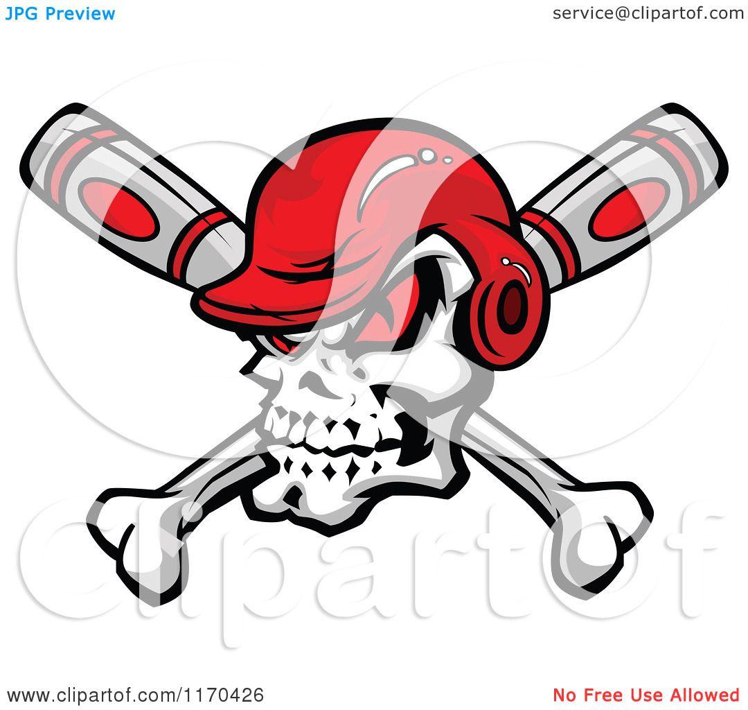 cartoon of a red eyed baseball skull with a helmet over crossed bats rh clipartof com Baseball Bat Logo Designs Baseball Bat Logo Designs