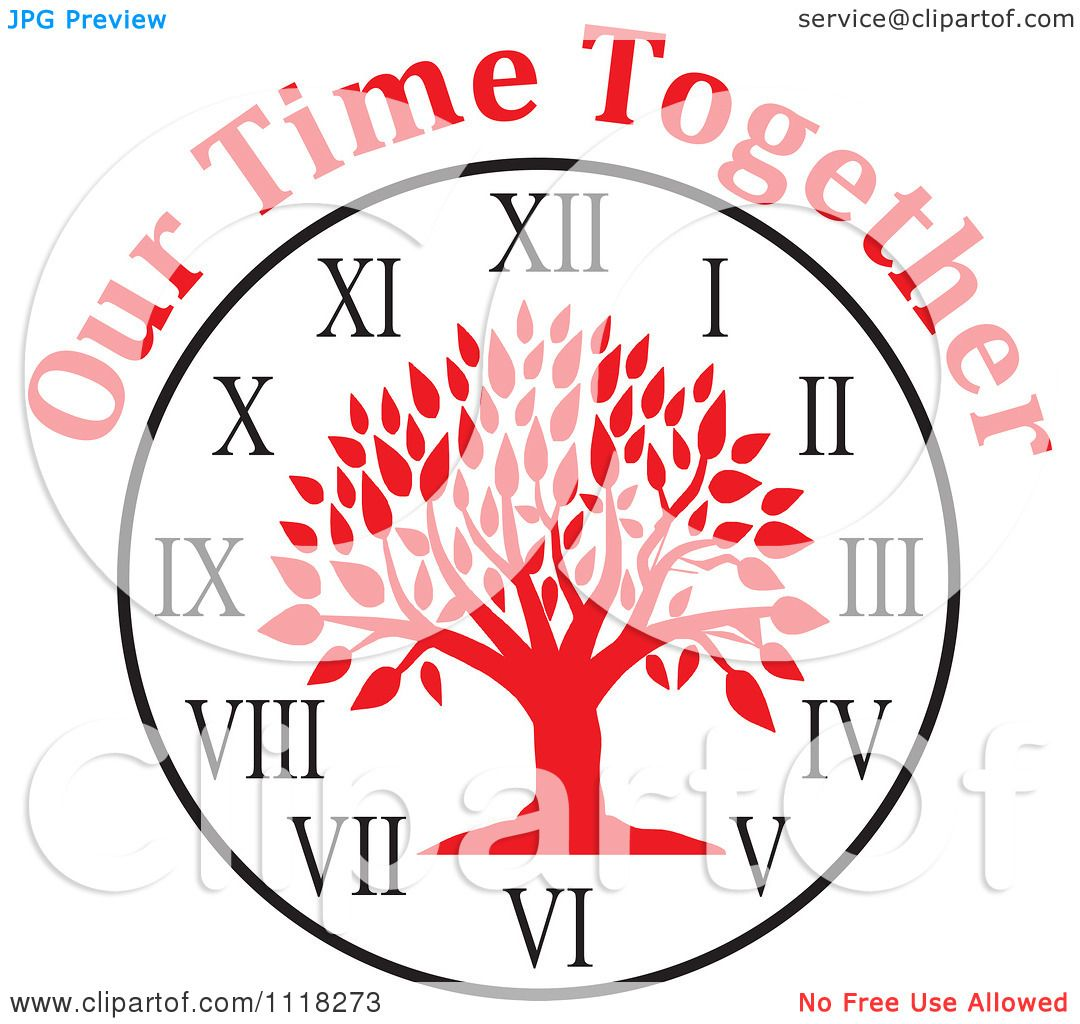 Cartoon Of A Red Family Reunion Tree Clock With Our Time Together ...