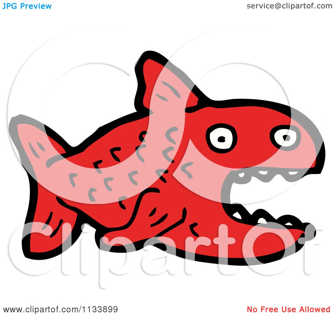 Cartoon Of A Red Piranha Fish - Royalty Free Vector Clipart by ...