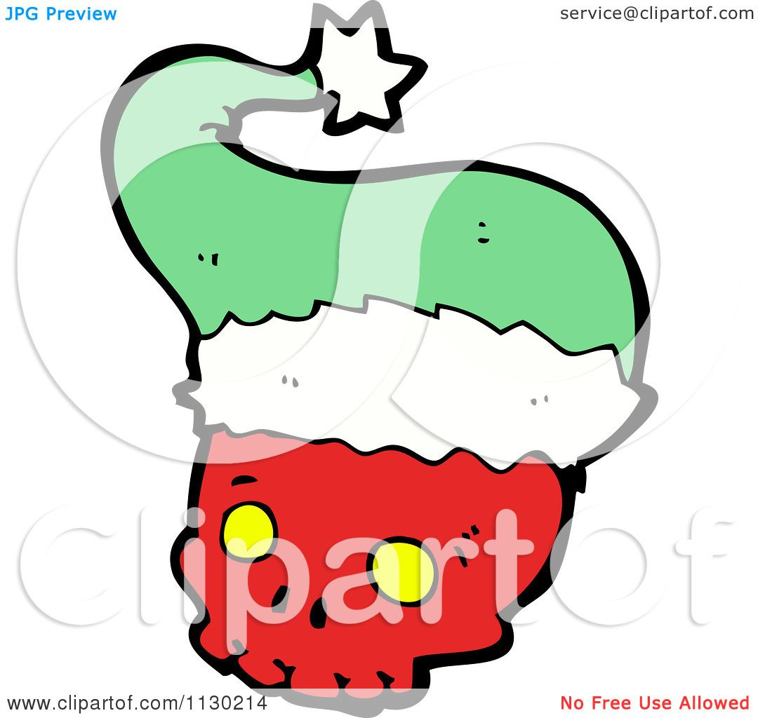 6b13da1f5d4ae Cartoon Of A Red Skull With A Green Santa Hat 2 - Royalty Free Vector  Clipart