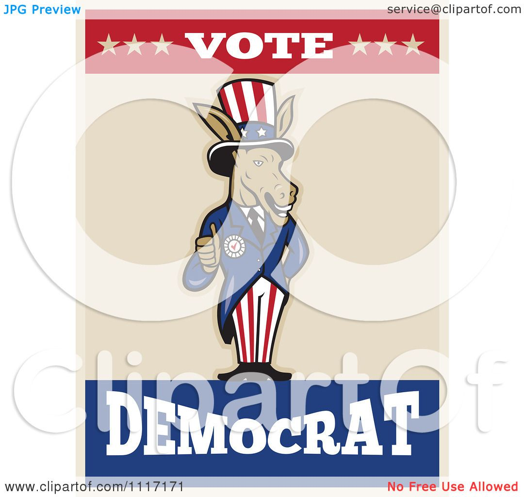 Cartoon Of A Retro Democratic Party Donkey Uncle Sam Holding A ...