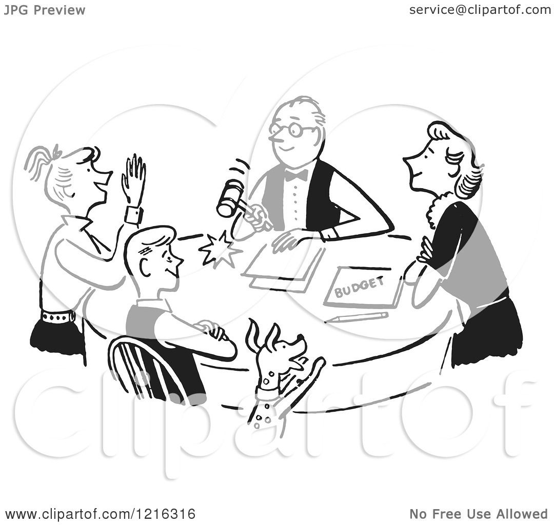 Happy Family Having a Meeting About the Budget  in Black and White    Happy Family Cartoon Black And White