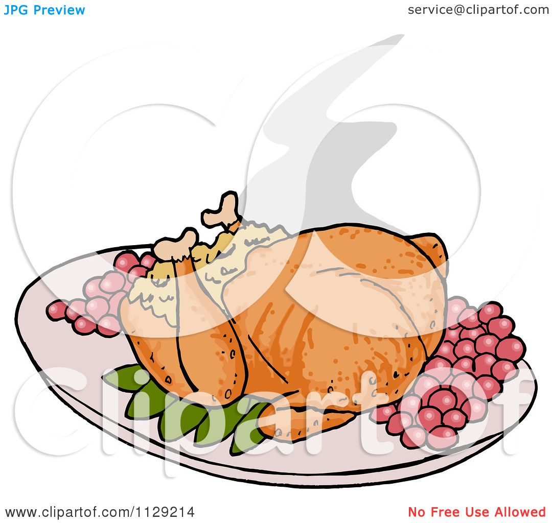 Cartoon Of A Roasted Thanksgiving Turkey - Royalty Free Vector ...