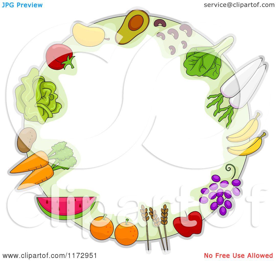 Fruit Vegetables Grain Frame of Fruit Vegetables
