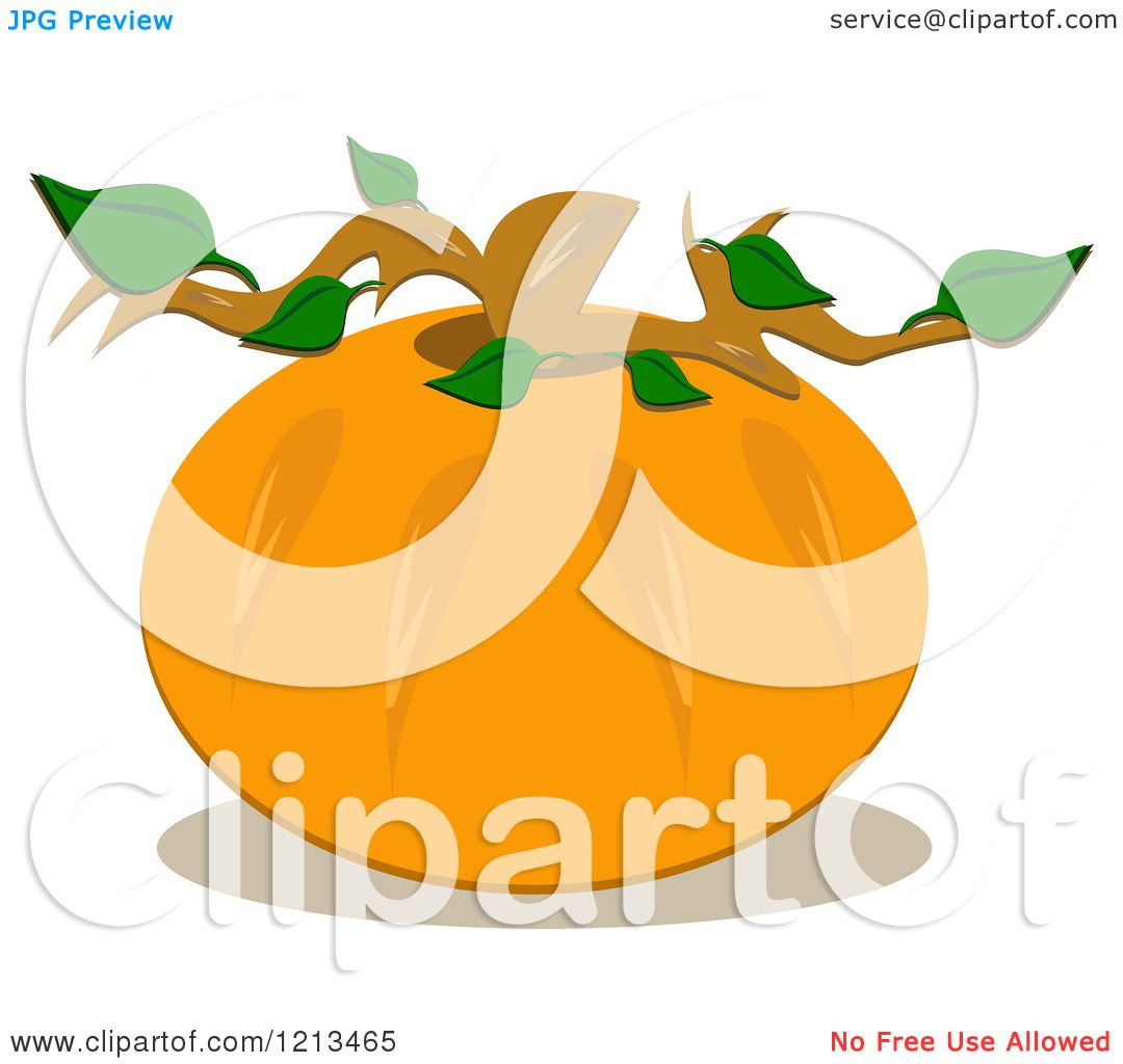 Stem Clip Art: Cartoon Of A Round Pumpkin With A Stem And Leaves