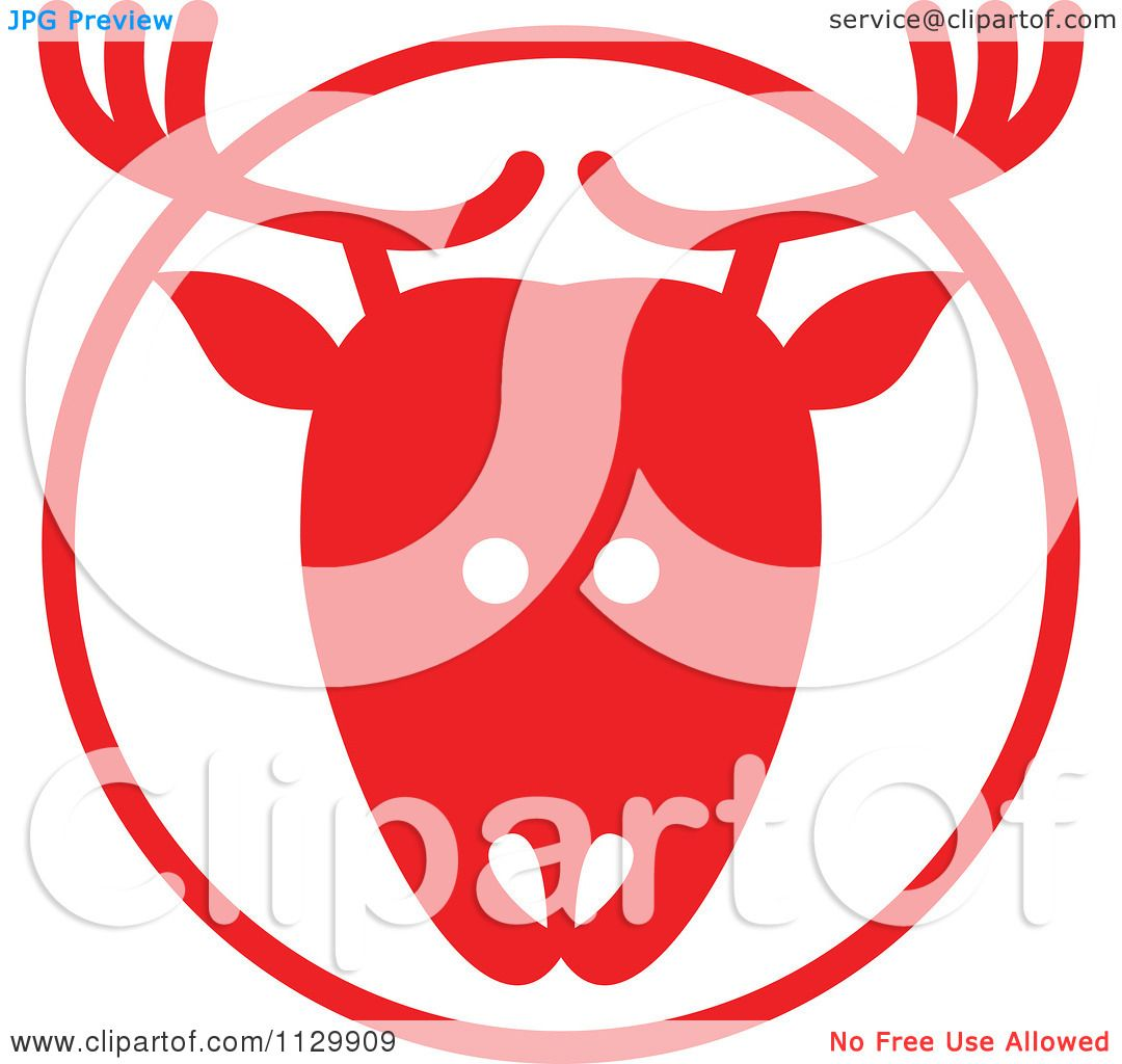 Cartoon Of A Round Red Reindeer Christmas Avatar - Royalty Free ...