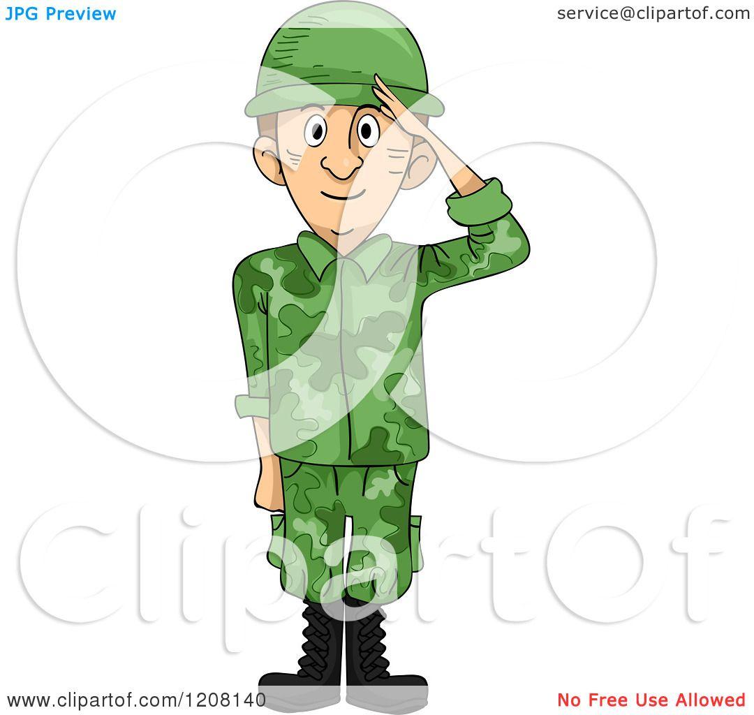 Cartoon of a Saluting Soldier - Royalty Free Vector Clipart by BNP ...: www.clipartof.com/portfolio/bnpdesignstudio/illustration/saluting...