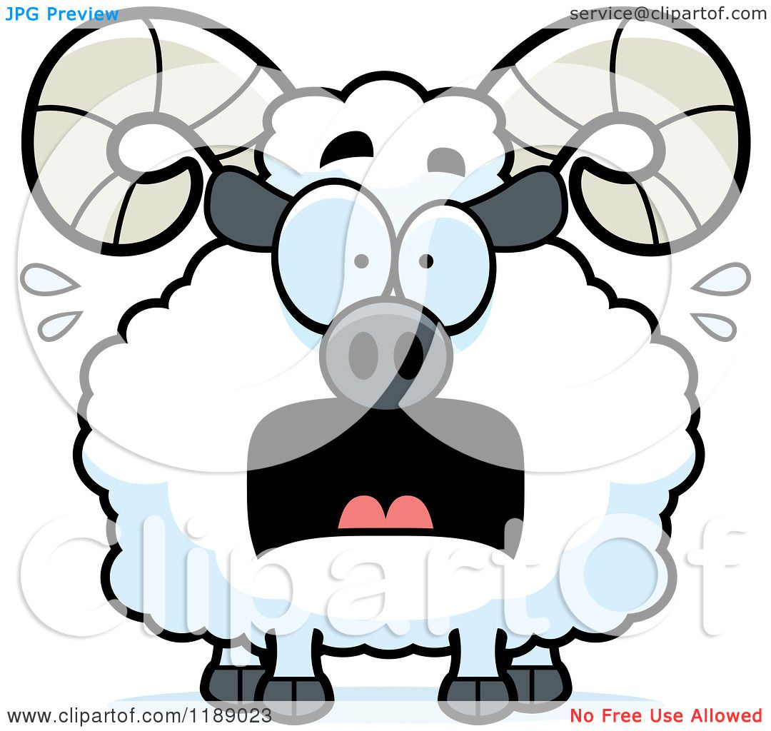 Cartoon of a Scared Ram Mascot - Royalty Free Vector Clipart by ...