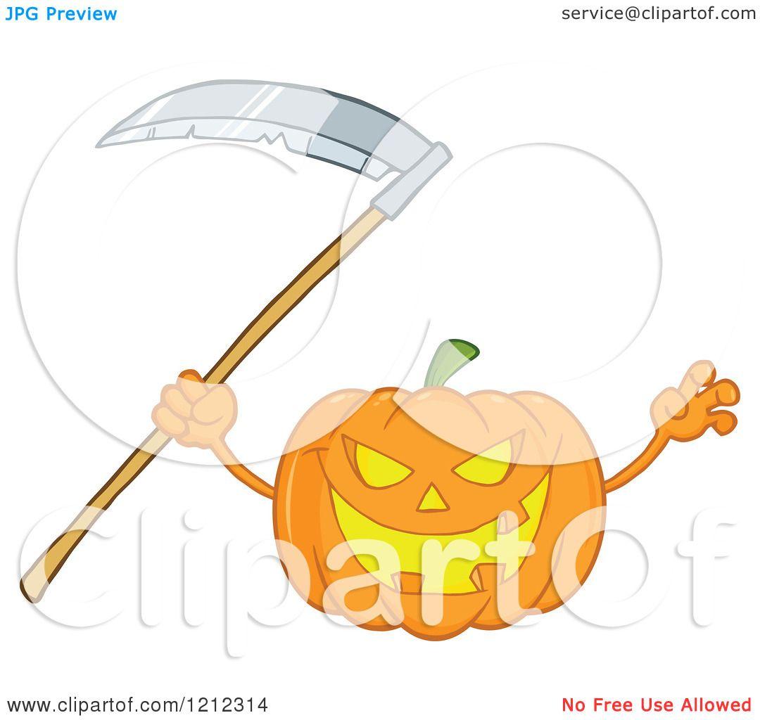 Cartoon Of A Scary Halloween Pumpkin With Scythe