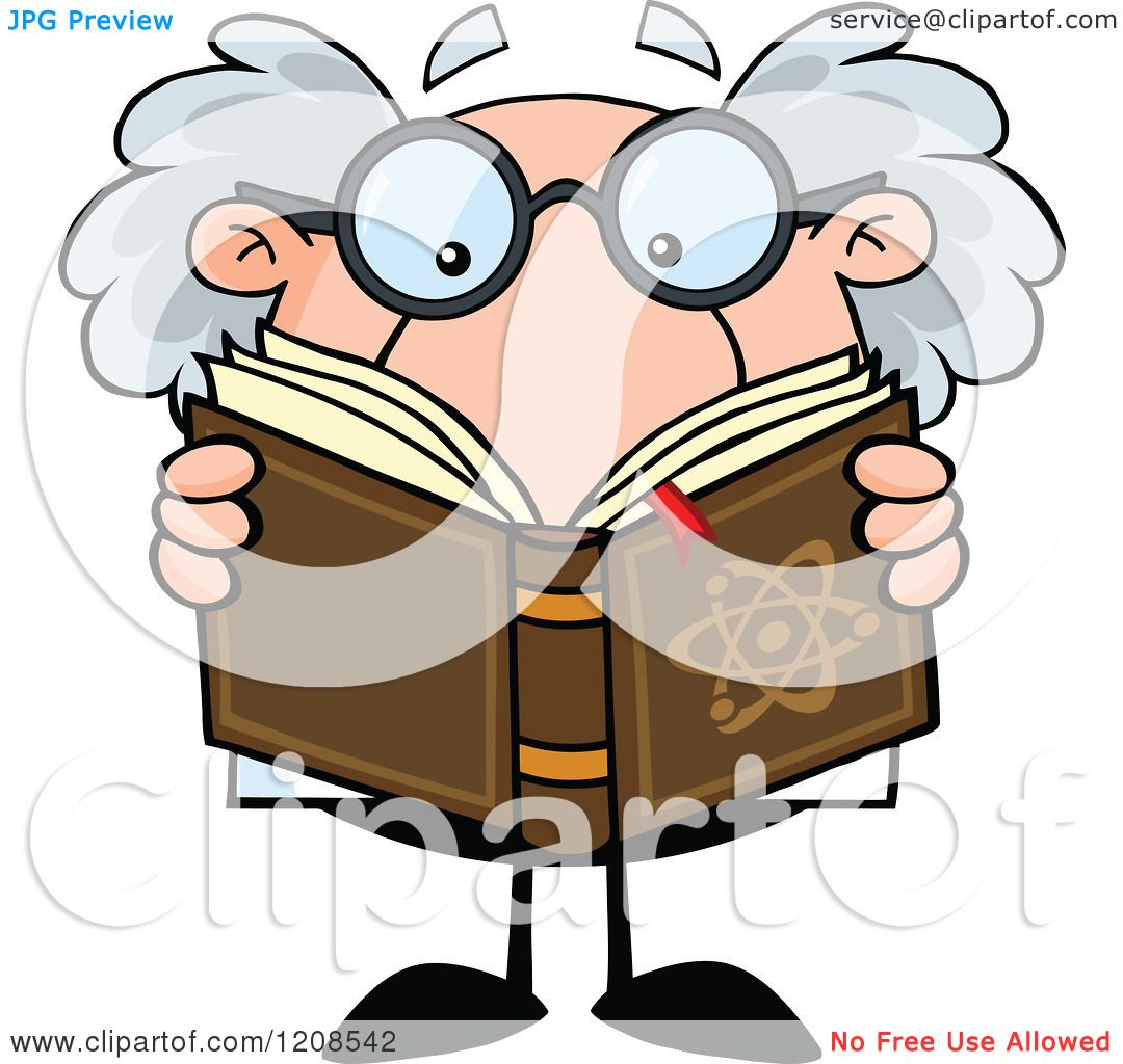 Cartoon of a Science Professor Reading a Book - Royalty Free ...
