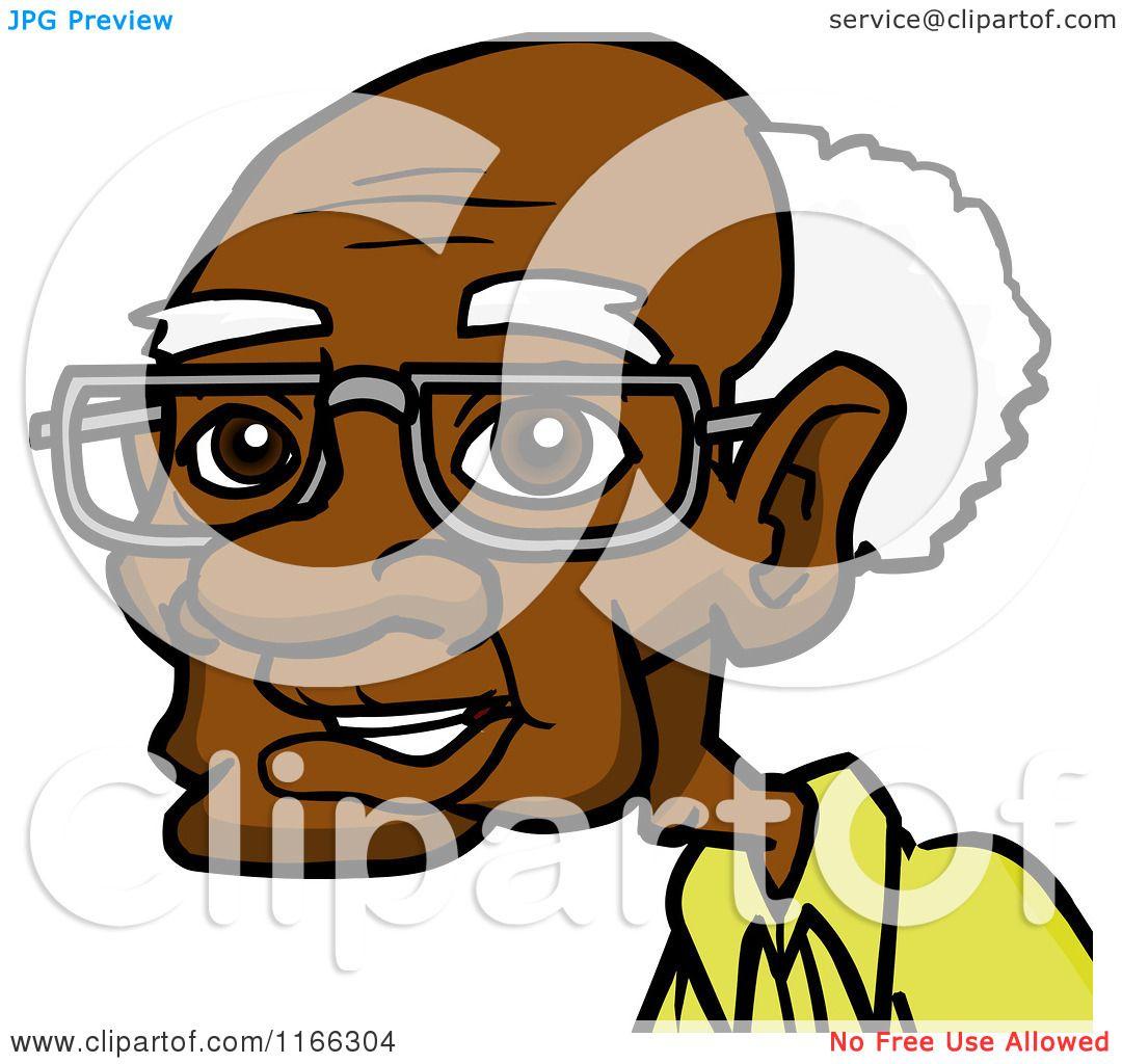cartoon of a senior black man avatar royalty free vector clipart