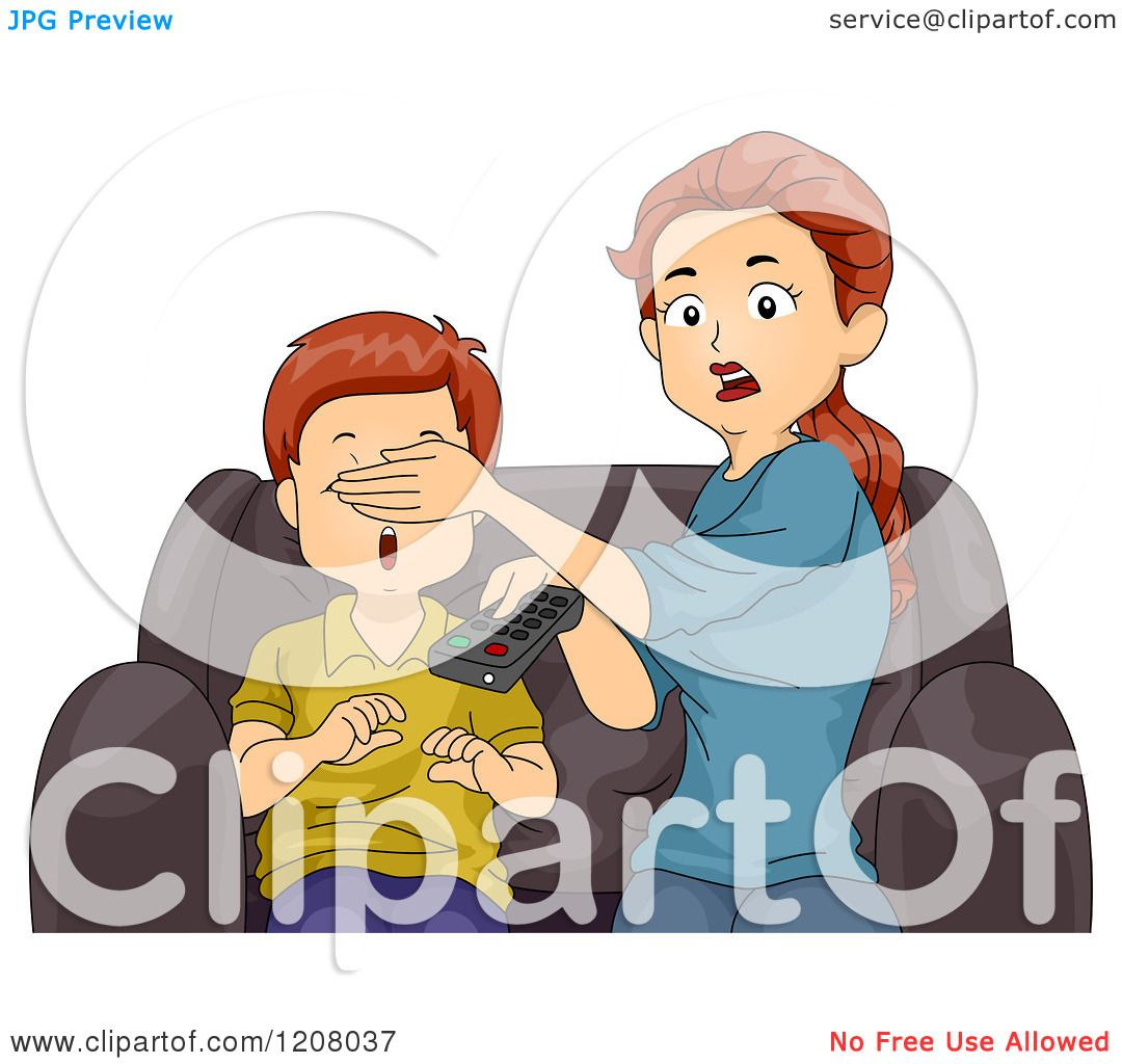 Cartoon of a Shocked Brunette Caucasian Mother Covering ...