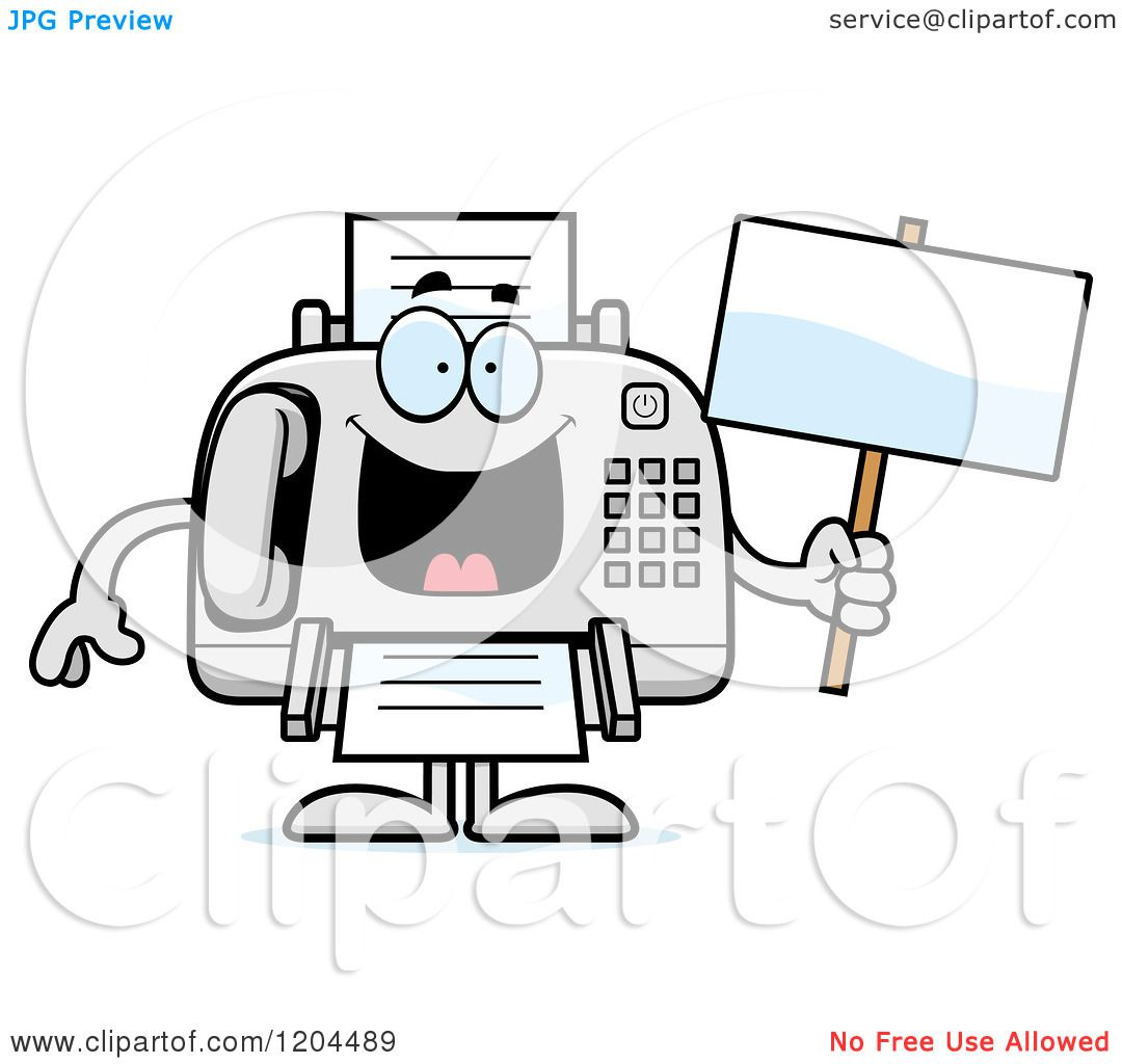 Cartoon Of A Sick Fax Machine Holding A Sign - Royalty -6732