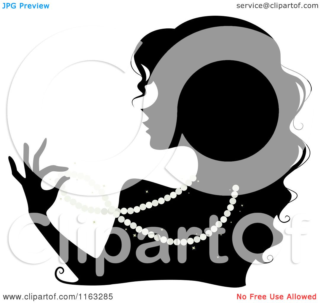 Cartoon of a Silhouetted Woman Wearing a Pearl Necklace - Royalty ...