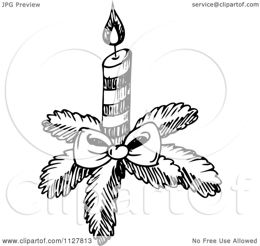 Cartoon Of A Sketched Black And White Christmas Candle ...