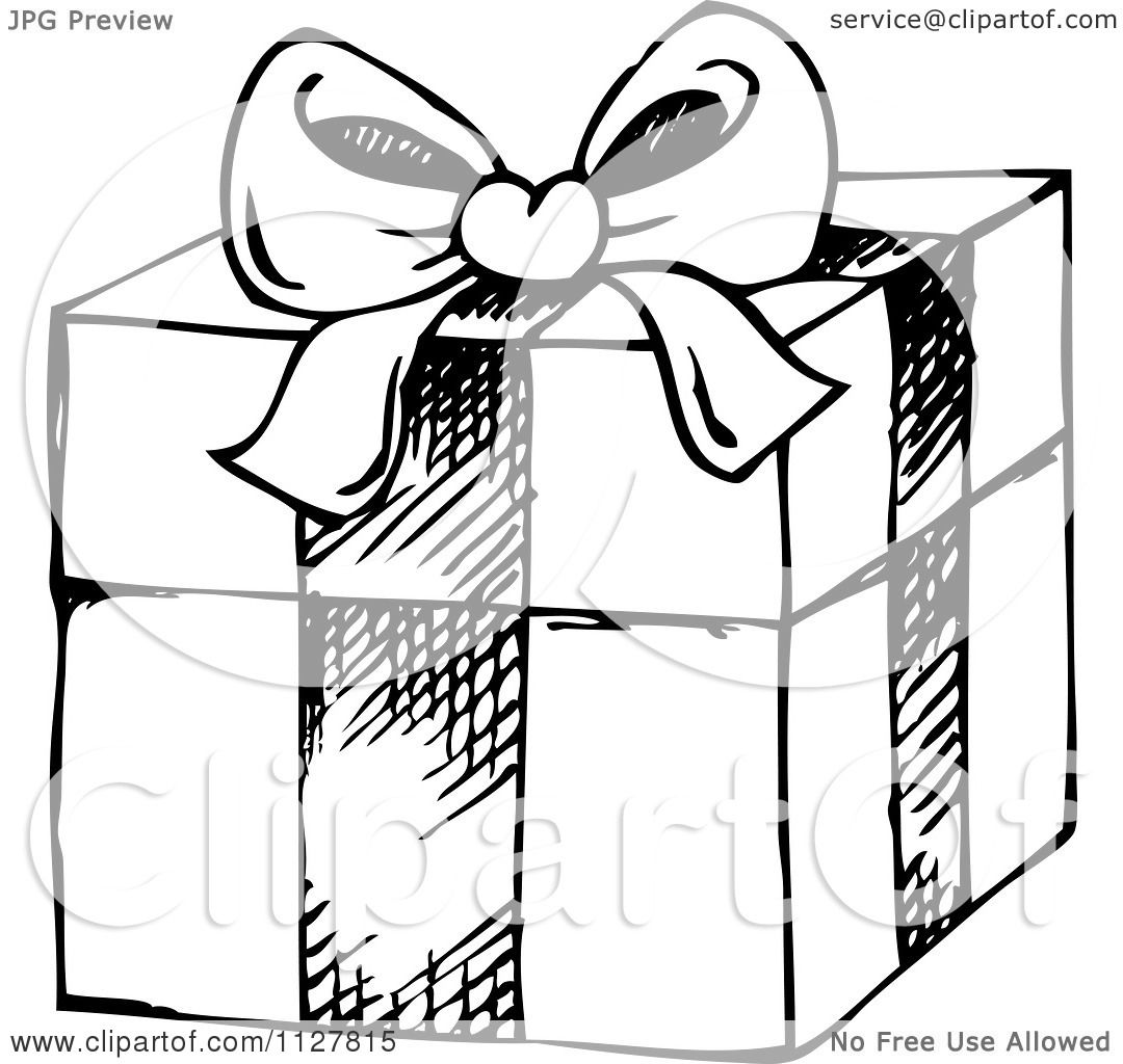 Cartoon Of A Sketched Black And White Christmas Gift Box - Royalty Free Vector Clipart By ...