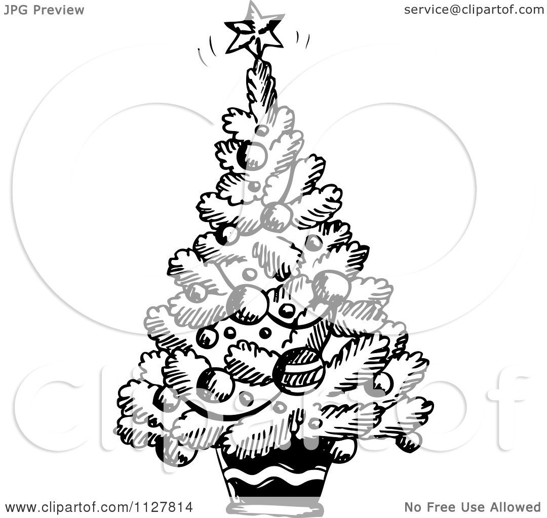 Cartoon Of A Sketched Black And White Christmas Tree - Royalty Free Vector Clipart by visekart ...