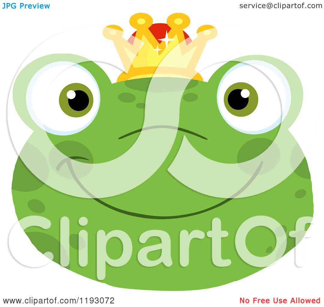 Cartoon of a Smiling Happy Frog Face with a Crown ...