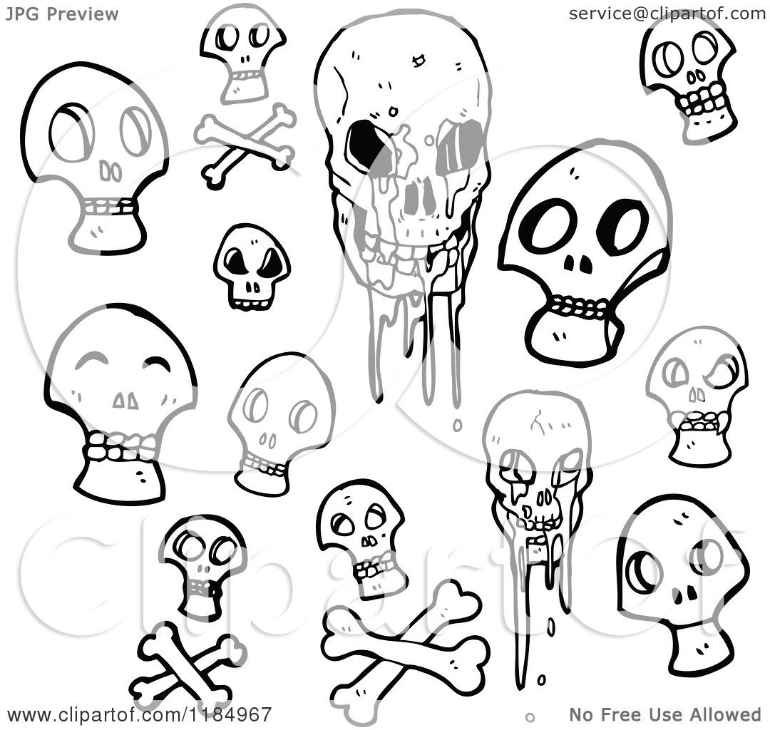 cartoon of a some skulls royalty free vector illustration by