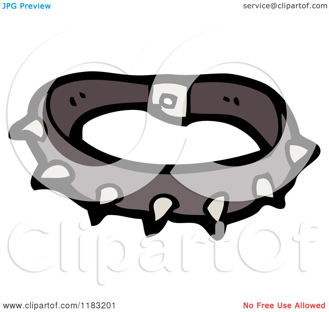 Cartoon of a Spiked Dog Collar - Royalty Free Vector ...