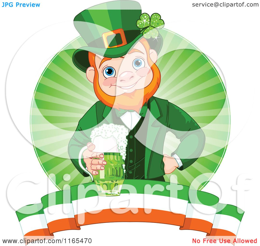 cartoon of a st patricks day leprechaun holding a green beer over