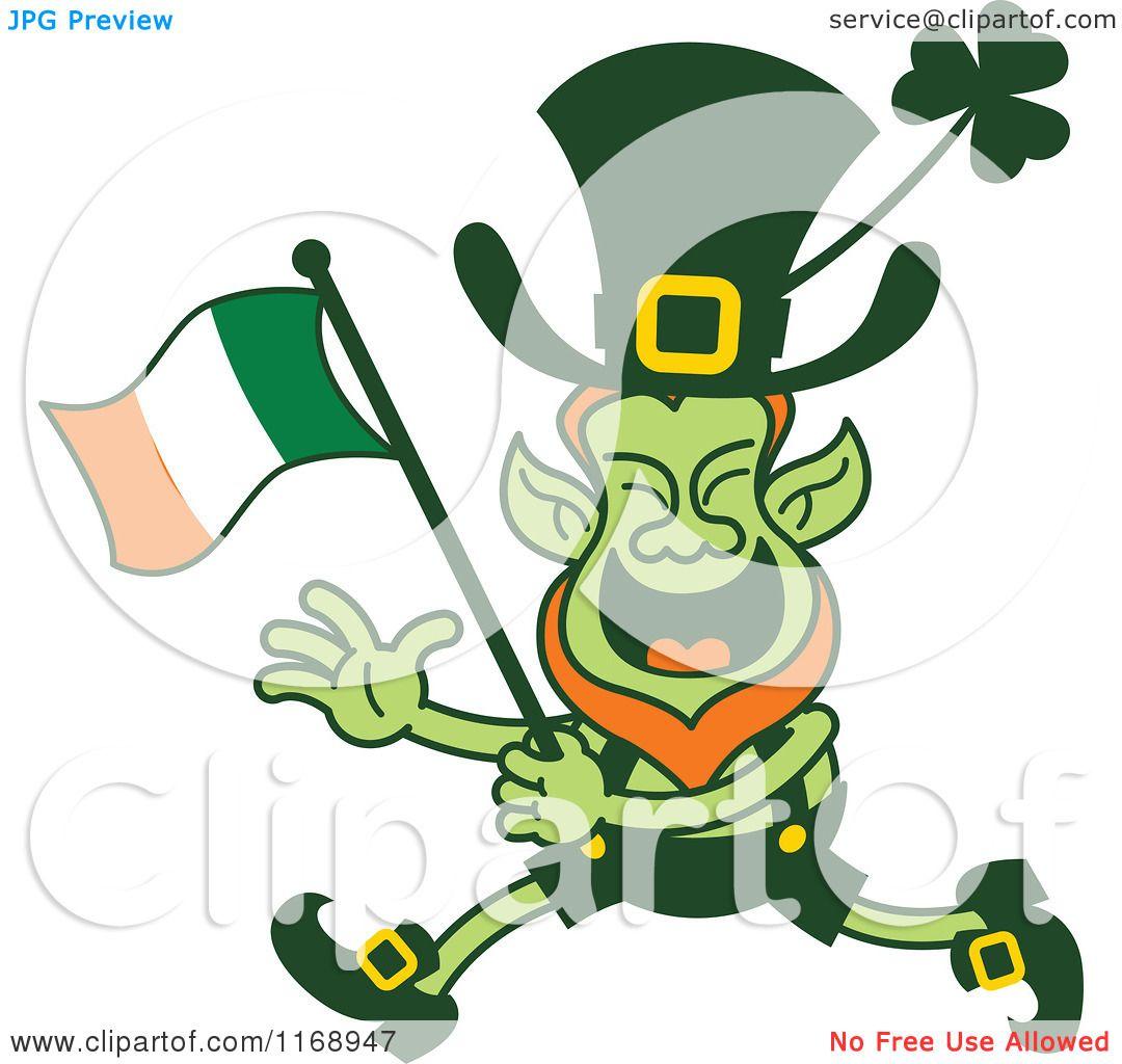 cartoon of a st patricks day leprechaun running and waving an