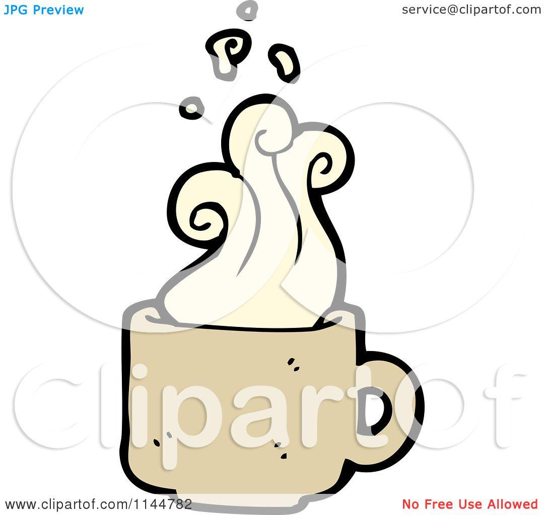 5da7f6e559d6 Cartoon of a Steamy Tan Coffee Mug 2 - Royalty Free Vector Clipart by  lineartestpilot