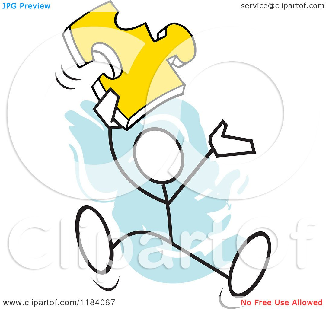 Cartoon Of A Stickler Man Jumping With A Puzzle Piece Over