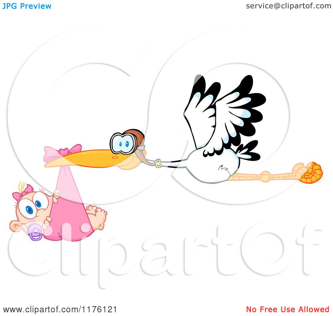 Cartoon of a Stork Flying a Baby Girl in a Pink Bundle - Royalty ...
