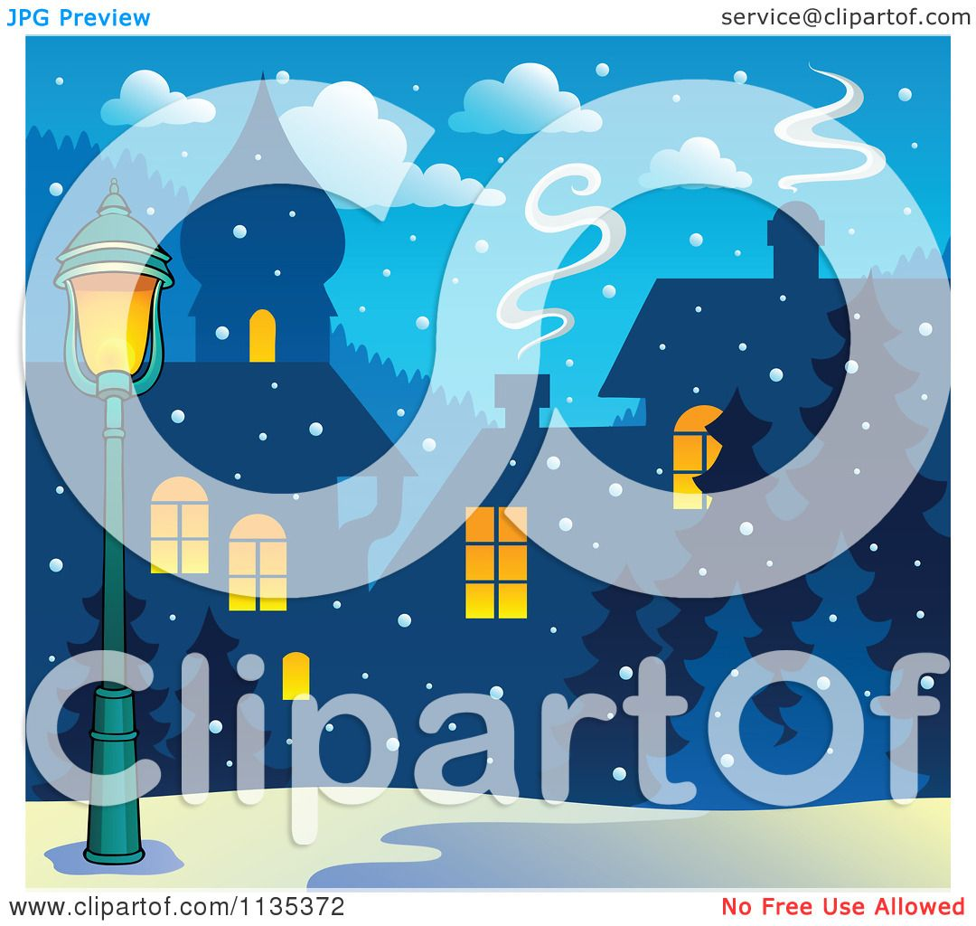 Cartoon Of A Street Light And Winter Village With Snow At