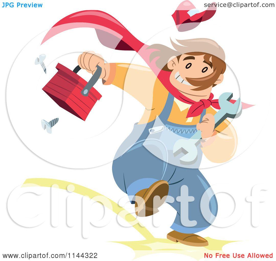 cartoon of a super handyman running with a tool box royalty free