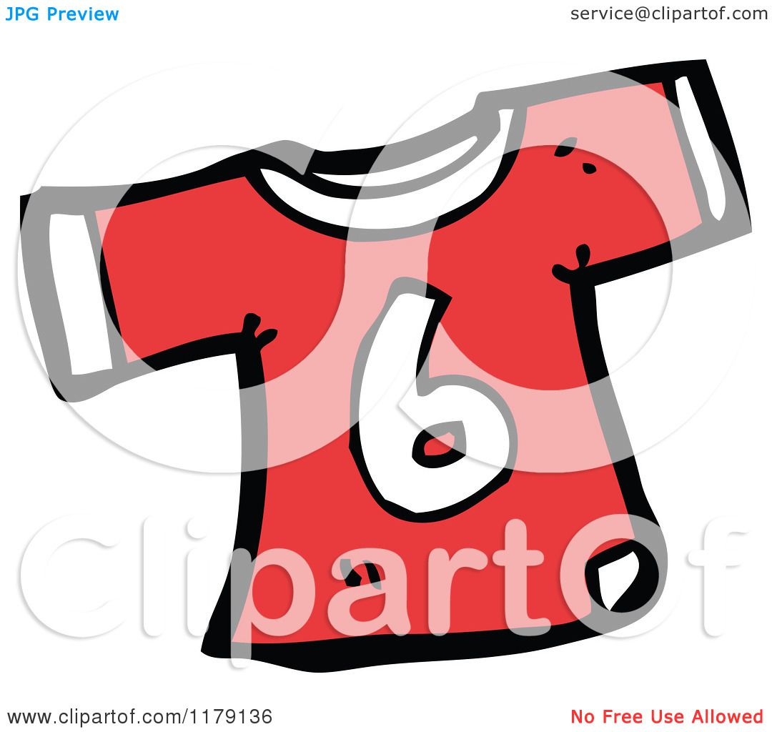 cartoon of a t shirt with the number 6 royalty free vector illustration by lineartestpilot